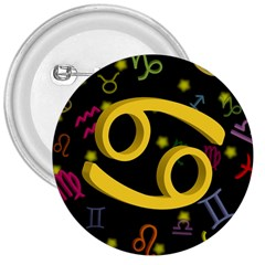 Cancer Floating Zodiac Sign 3  Buttons by theimagezone