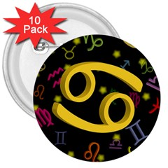 Cancer Floating Zodiac Sign 3  Buttons (10 Pack)  by theimagezone