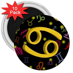Cancer Floating Zodiac Sign 3  Magnets (10 Pack)  by theimagezone
