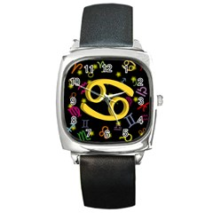 Cancer Floating Zodiac Sign Square Metal Watches by theimagezone