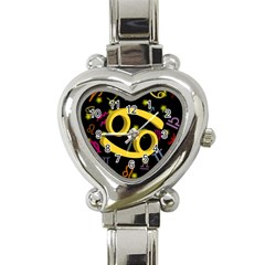 Cancer Floating Zodiac Sign Heart Italian Charm Watch by theimagezone