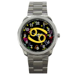 Cancer Floating Zodiac Sign Sport Metal Watches by theimagezone