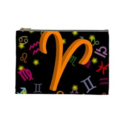 Aries Floating Zodiac Sign Cosmetic Bag (large)  by theimagezone