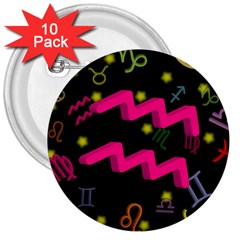 Aquarius Floating Zodiac Sign 3  Buttons (10 Pack)  by theimagezone