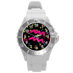 Aquarius Floating Zodiac Sign Round Plastic Sport Watch (l) by theimagezone