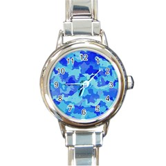 Camouflage Blue Round Italian Charm Watches by MoreColorsinLife