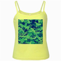 Camouflage Blue Yellow Spaghetti Tanks by MoreColorsinLife