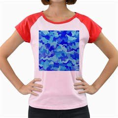 Camouflage Blue Women s Cap Sleeve T Shirt