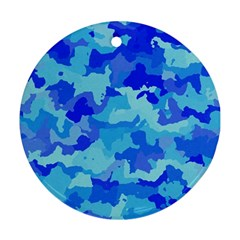 Camouflage Blue Round Ornament (two Sides)  by MoreColorsinLife