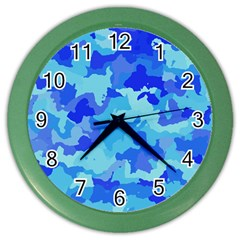 Camouflage Blue Color Wall Clocks by MoreColorsinLife