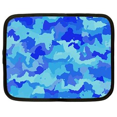 Camouflage Blue Netbook Case (large)	 by MoreColorsinLife