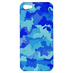 Camouflage Blue Apple Iphone 5 Hardshell Case by MoreColorsinLife