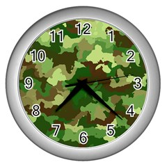Camouflage Green Wall Clocks (silver)  by MoreColorsinLife
