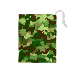 Camouflage Green Drawstring Pouches (medium)  by MoreColorsinLife