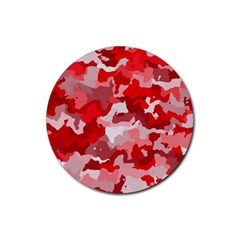 Camouflage Red Rubber Coaster (Round)  by MoreColorsinLife