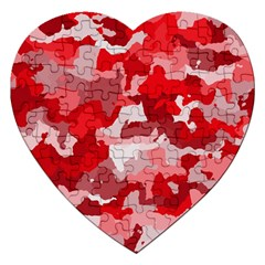 Camouflage Red Jigsaw Puzzle (Heart) by MoreColorsinLife