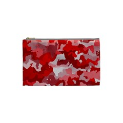 Camouflage Red Cosmetic Bag (small)  by MoreColorsinLife