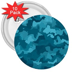 Camouflage Teal 3  Buttons (10 Pack)  by MoreColorsinLife