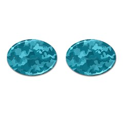 Camouflage Teal Cufflinks (oval) by MoreColorsinLife