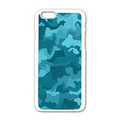 Camouflage Teal Apple Iphone 6 White Enamel Case by MoreColorsinLife