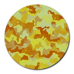 Camouflage Yellow Round Mousepads by MoreColorsinLife