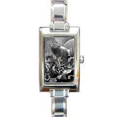 Black And White Rose Rectangle Italian Charm Watches by timelessartoncanvas