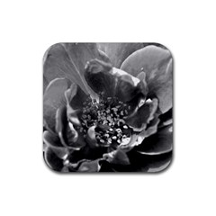 Black And White Rose Rubber Square Coaster (4 Pack)  by timelessartoncanvas