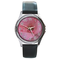 Pink Rose Round Metal Watches