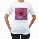 Pink Rose Women s T-Shirt (White) (Two Sided)
