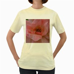 Pink Rose Women s Yellow T-Shirt