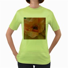 Pink Rose Women s Green T-Shirt