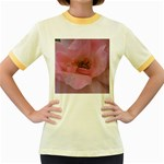 Pink Rose Women s Fitted Ringer T-Shirts
