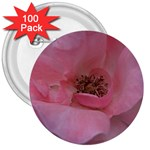Pink Rose 3  Buttons (100 pack)