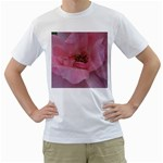 Pink Rose Men s T-Shirt (White) (Two Sided)
