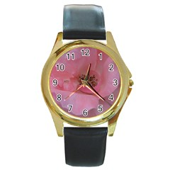 Pink Rose Round Gold Metal Watches