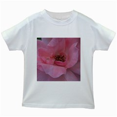 Pink Rose Kids White T-Shirts
