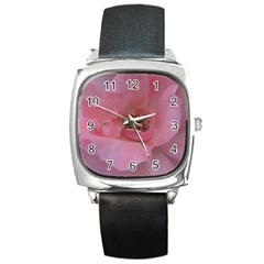 Pink Rose Square Metal Watches