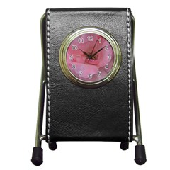 Pink Rose Pen Holder Desk Clocks