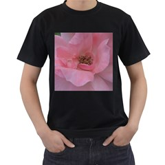 Pink Rose Men s T-Shirt (Black) (Two Sided)