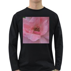 Pink Rose Long Sleeve Dark T-Shirts