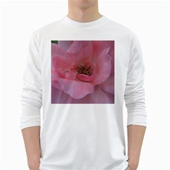 Pink Rose White Long Sleeve T-Shirts