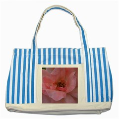 Pink Rose Striped Blue Tote Bag