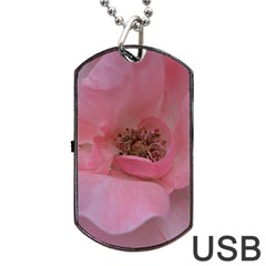 Pink Rose Dog Tag USB Flash (One Side)