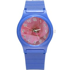 Pink Rose Round Plastic Sport Watch (S)