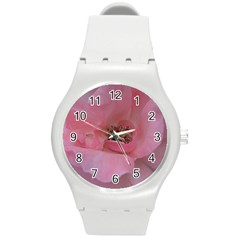 Pink Rose Round Plastic Sport Watch (M)