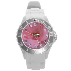 Pink Rose Round Plastic Sport Watch (L)
