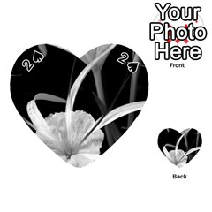 Exotic Black And White Flowers Playing Cards 54 (heart)  by timelessartoncanvas