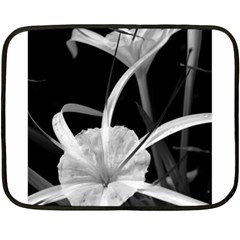 Exotic Black And White Flowers Fleece Blanket (mini) by timelessartoncanvas