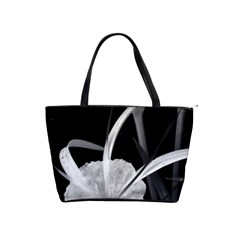 Exotic Black And White Flowers Shoulder Handbags by timelessartoncanvas