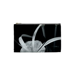 Exotic Black And White Flowers Cosmetic Bag (small)  by timelessartoncanvas